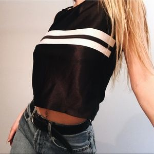 Black and white stripe croptop